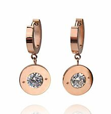 14K Rose Gold Circle Crystal Charm Stainless Steel Women's Dangle Drop Earrings