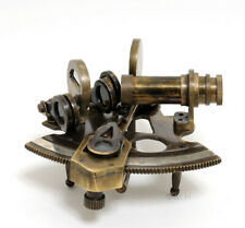 """Small Brass Sextant 4"""" Antiqued Finish w/ Leather Case Nautical Maritime Decor"""