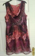 A/WEAR  - Purple Pink and Black - Kimberley Feather Print Dress - Size 14  Awear