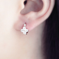 Solid 925 Sterling Silver Clover Flower Shamrock Blossom CZ Huggie Hoop Earrings