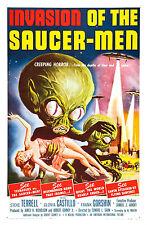 Encadrée Rétro Affiche de cinéma-Invasion de la soucoupe Hommes 1957 (réplique film d'impression)