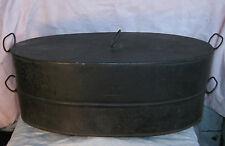 "RARE Huge Antique AMERICAN TIN ROASTING PAN 2pc. 19"" 5 Hand Forged Handles Iron"