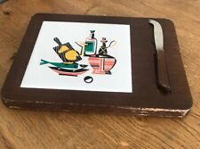 VINTAGE WOODEN TILED CHEESE BOARD WITH KNIFE KITSCH