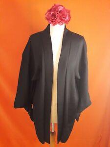 Vintage Original Japanese Kimono Haori Jacket Silk Black