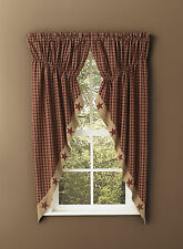 "Window Curtain - Gathered Swag Pair 63"" Patch - Sturbridge Patch in Wine"