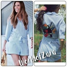 4306a3cfaa43 NWT ZARA JUMPSUIT WITH EMBROIDERED BACK 0787 056 Blue White XS Bloggers  Fav