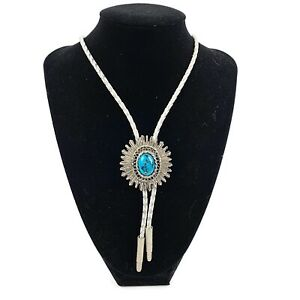 Womens Silver Plated Turqoise White Cord Bolo Tie Lariat Western Boho Southwest