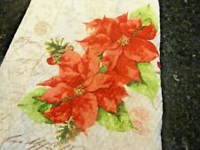 new Fabric Shower Curtain Holiday Poinsettias writings berries Merry Christmas