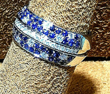 18K White gold Diamonds and Sapphire Engagement & Wedding Band  3 pcs.size 6.5