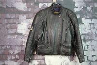 Womens Sportex Apollo Black Leather Biker Jacket size 12 No.R443 26/11