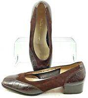 Salvatore Ferragamo Boutique Pump Womens Sz 8 B Brown Wingtip Slip On Heel Italy