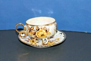 Vintage Royal Sealy Yellow Rose Footed Teacup and Saucer Gold Accents