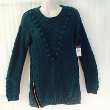 Ella moss Womens Knit Sweater siz 6/8/S Green Winter Cable Pullover Top New $278