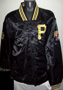 PITTSBURGH PIRATES JH DESIGNS Satin Snap Down Jacket BLACK 4X Sized