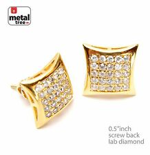 Men's Micro Pave CZ 14k Gold Plated Puffed Dome Kite Screw Back Earrings 905 G