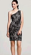 $318 BCBG BLACK COMBO (HLX6K246) ONE SHOULDER RAYON BANDAGE DRESS NWT M