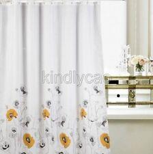 Orange Black White Water Lily Flower Design Bathroom Fabric Shower Curtain Ks805