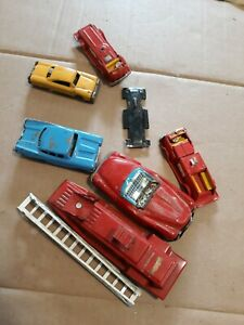 Vintage Tin Friction Toy Car Lot Toy Vehicles Metal Tin Fire Truck Toy PARTS