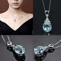 Elegant 925 Sterling Silver Aquamarine Gemstone Pendant Necklace Gift Jewellery