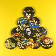 "Classic Movie Monsters 1"" Button Pin Set in Color Wolfman Dracula Frankenstein"