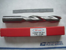 "NEW HTC USA 1"" X 5"" LOC X 8"" OAL SQ. END 2FL CC CARBIDE ENDMILL EDP#770-2108"