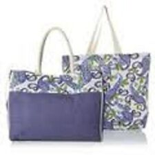 Lavender Jute Tote Set with Cotton Storage Bag, New!