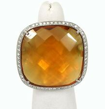 New 18k White Gold Diamond & Large Orange Quartz Ladies Cocktail Ring