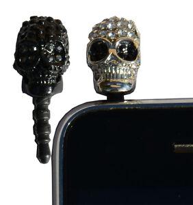 Mobile Phone Headphone Socket Dustcap Skull. Bling Crystal.