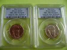 2009-P JAMES POLK PCGS MS 65 OBVERSE DIE SCRAPED POS A&B 2-COIN DOLLAR ERROR SET
