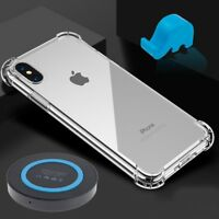 TPU Shockproof Clear Case + QI Wireless Charging Pad + Stand for iPhone X 10