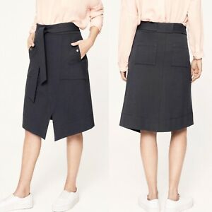 Me + Em Navy Ponte Skirt Work Casual Size M, Uk 12 Rrp £119 Heavy Material