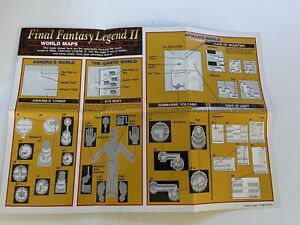 """Final Fantasy Legend II Map Game Boy 2-Sided Poster 11""""x8"""" VG Con P-DMG-S2-USA-1"""
