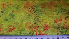 Fat Quarter Bali Triple dyed BATIK Hunter Rust Lime abstract floral imported