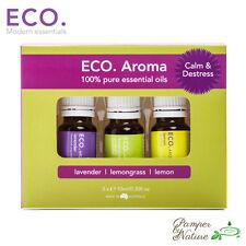 Eco Aroma Essential Oils Calm & Destress Trio - Lavender, Lemongrass & Lemon