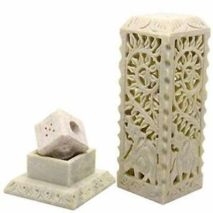 Handcrafted Elephant Carving Soapstone Marble Incense Agarbati Stand Holder