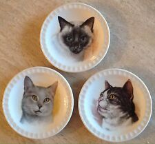 3 Vintage Weatherby Hanley England Siamese Tabby Cat Dishes MINT