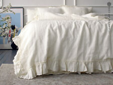 LINEN DUVET COVER. US Queen size ivory white comforter cover with ruffles