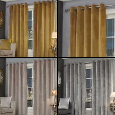 Plush Velvet Fully Lined Ring Top Eyelet Curtains Ochre Yellow Silver Grey Stone
