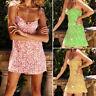 Women Boho Floral Chiffon Party Evening Short Mini Dress Summer Beach Sundress