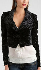 NWT GUESS Textured Velvet Blazer Bolero Jacket Black Small S