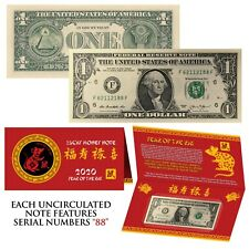2020 CNY Chinese YEAR of the RAT Lucky Money U.S. $1 Bill w/ Red Folder - S/N 88