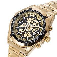 Reloj De Pulsera Gute Clásico X Cuadrante Esqueleto Automático Mecánico Dorado Negro