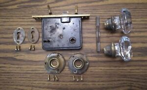 Antique Mortise Door Lock Set. Glass knobs.