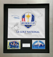 2018 RYDER CUP GOLF PIN FLAG SIGNED BY POULTER, FLEETWOOD, STENSON, CASEY, AFTAL