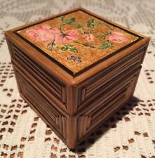 "French Square Fine Bamboo Box with Decoupage Roses 2.5"" x 2.5"" x 2"" h"
