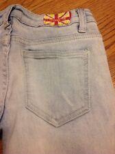 Machine distressed destroyed  women's denim blue jeans size 0 / 26 #7