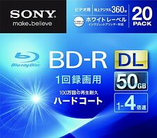 20 Sony Bluray Dual Layer BD-R DL 50GB 4X Speed 3d Blu ray Inkjet Printable Disc
