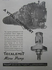 4/1947 PUB TECALEMIT AIRCRAFT MICRO PUMP DE HAVILLAND GHOST ENGINE ORIGINAL AD
