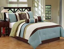 Dcp 7Pcs Luxury Modern Stripe Comforter Bed-in-a-Bag Set Queen Sage/Coffee love