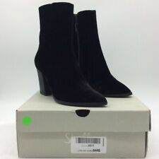Shellys London Womens Toddy Ankle Boots Black Velvet Block Heel Spain 7.5 New